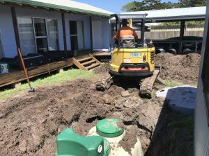 Home sewage treatment plant replacement in small backyard at Sandon River