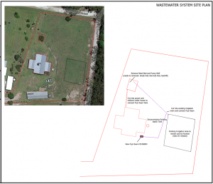 Draft site plan for upgrade of home sewage treatment in Woombah