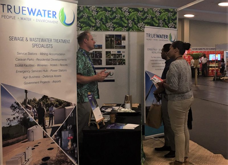 Greeting Attendees in the True Water exhibit booth at the HOTEC tradeshow in Fiji