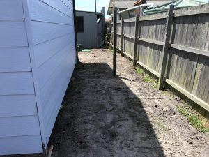 Once the installation was complete, the access beside the house was restored.