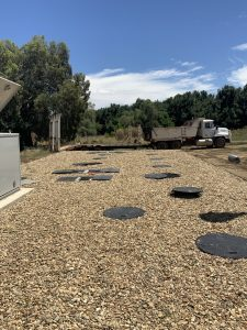 The STP compound is finished with edging and gravel to ensure a neat finish and the maintenance of easy access for servicing.
