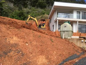 Installing a Fuji Clean home sewage treatment system in the Korora hills near Coffs Harbour