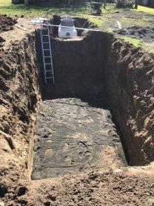 Excavation prior to system installation.