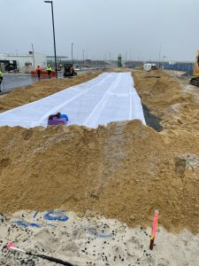 Construction underway on the engineered effluent disposal system.