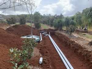 The light weight septic tank and ETA beds were installed within the existing landscaping without damage to the established plants.